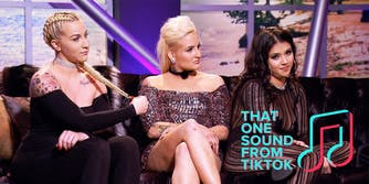 """three women on couch with """"that one sound from tiktok"""" logo"""