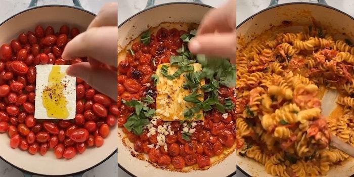 "woman making a ""baked feta pasta"" dish"