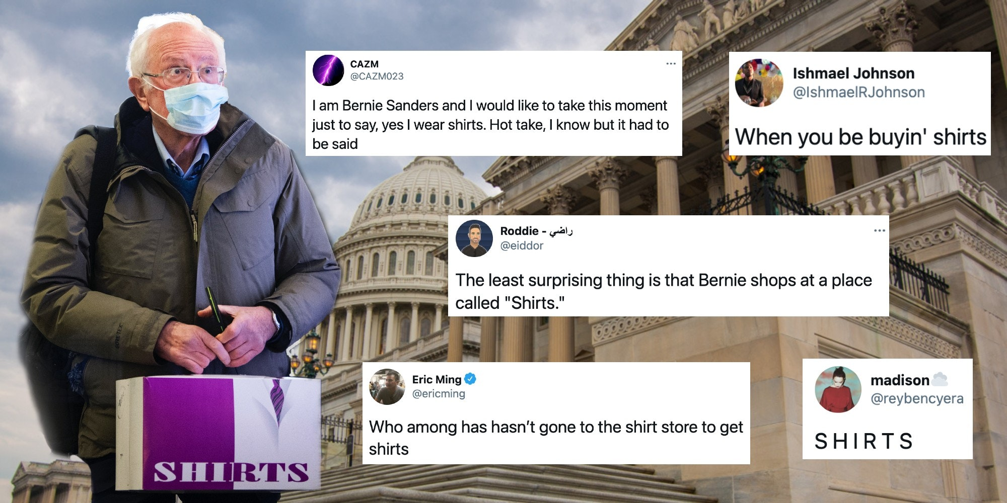 Bernie Sanders at the Capitol and tweets about 'shirts'