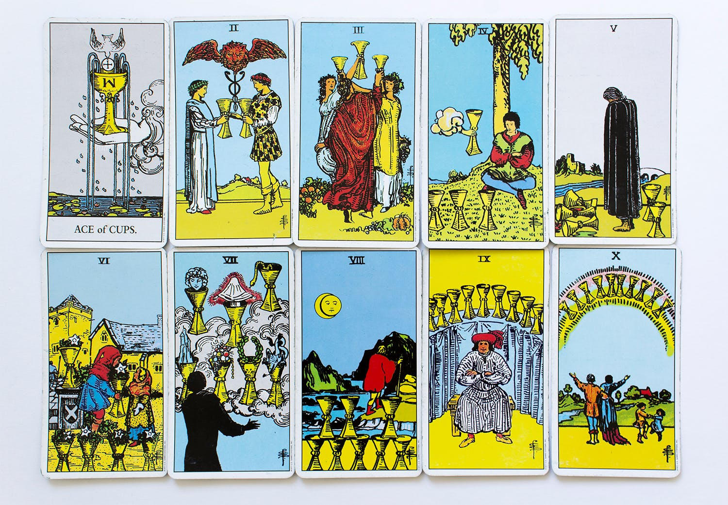 all minor number arcana cups set card of Rider-Waite deck on white background