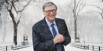 Bill Gates in front of snowy background