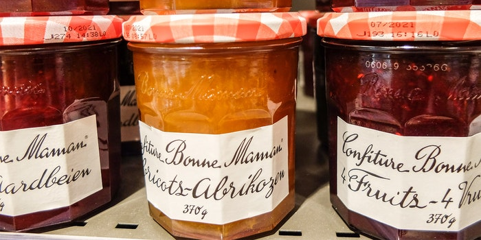 French fruits jam Bonne Maman in a grocery store