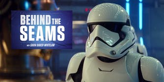 "Star Wars stormtrooper with ""Behind the Seams with Gavia Baker-Whitelaw"" logo"