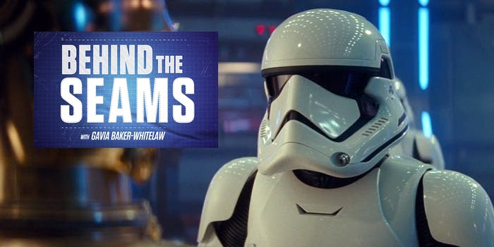 """Star Wars stormtrooper with """"Behind the Seams with Gavia Baker-Whitelaw"""" logo"""