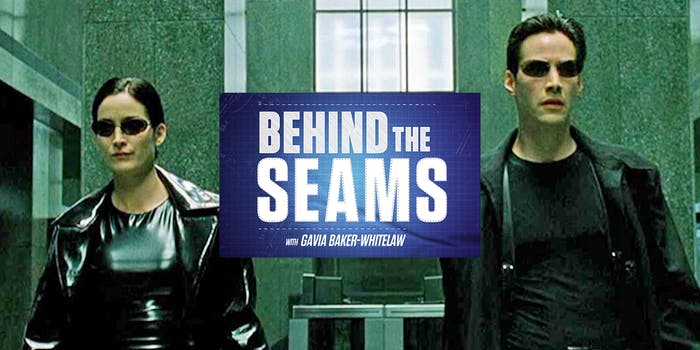 """Trinity and Neo from The Matrix with """"Behind the Seams with Gavia Baker-Whitelaw"""" logo"""
