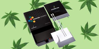 At-home cannabis DNA test on a green, weed-leaf pattern background