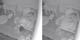 nanny cam of child peering under bed