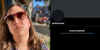 woman wearing sunglasses (l) @chloecorrupt Account suspended message on Twitter user page