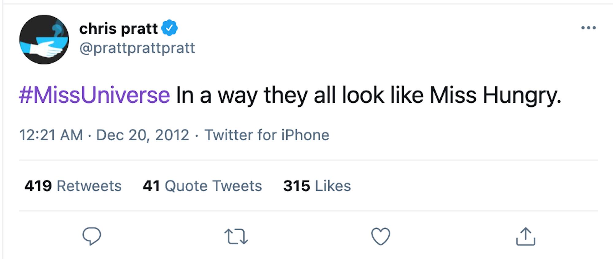 screenshot of chris pratt miss universe tweet