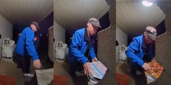 pizza delivery man at customer's front porch dropping box of pizza, putting it back