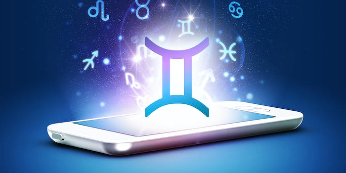 zodiac symbols coming out of a phone