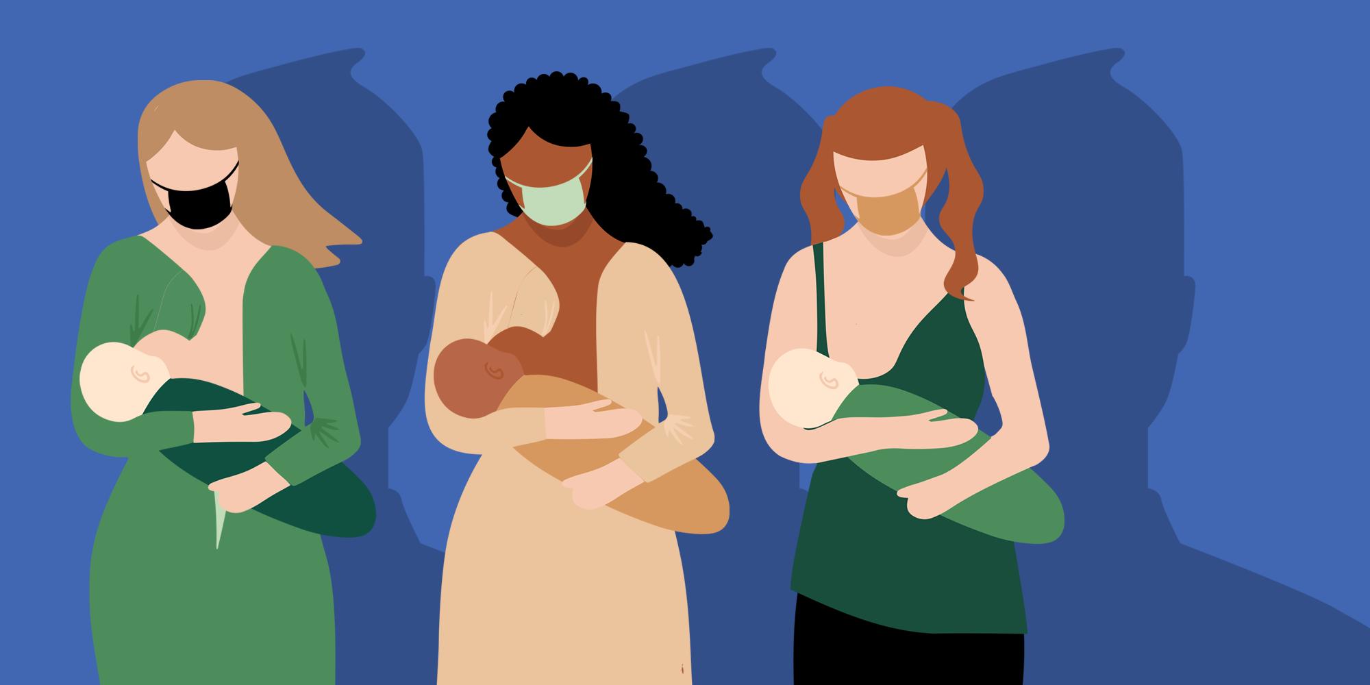three women breastfeeding with facebook head logo for shadows