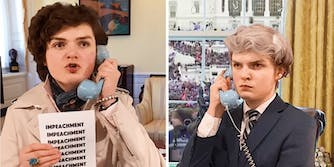 Henry Patterson dressed as Nancy Pelosi, with brown curls and a raincoat, holding a telephone and a piece of paper with 'impeachment' written on it multiple times next to a picture of Henry Patterson as Mike Pence with white hair and wearing a suit, also on the phone