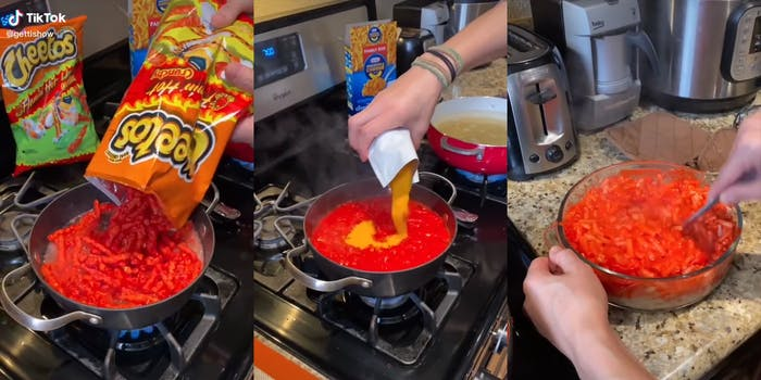 woman making macaroni and cheese with flaming hot cheetos
