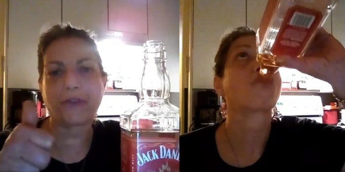 A Florida woman drinking bourbon