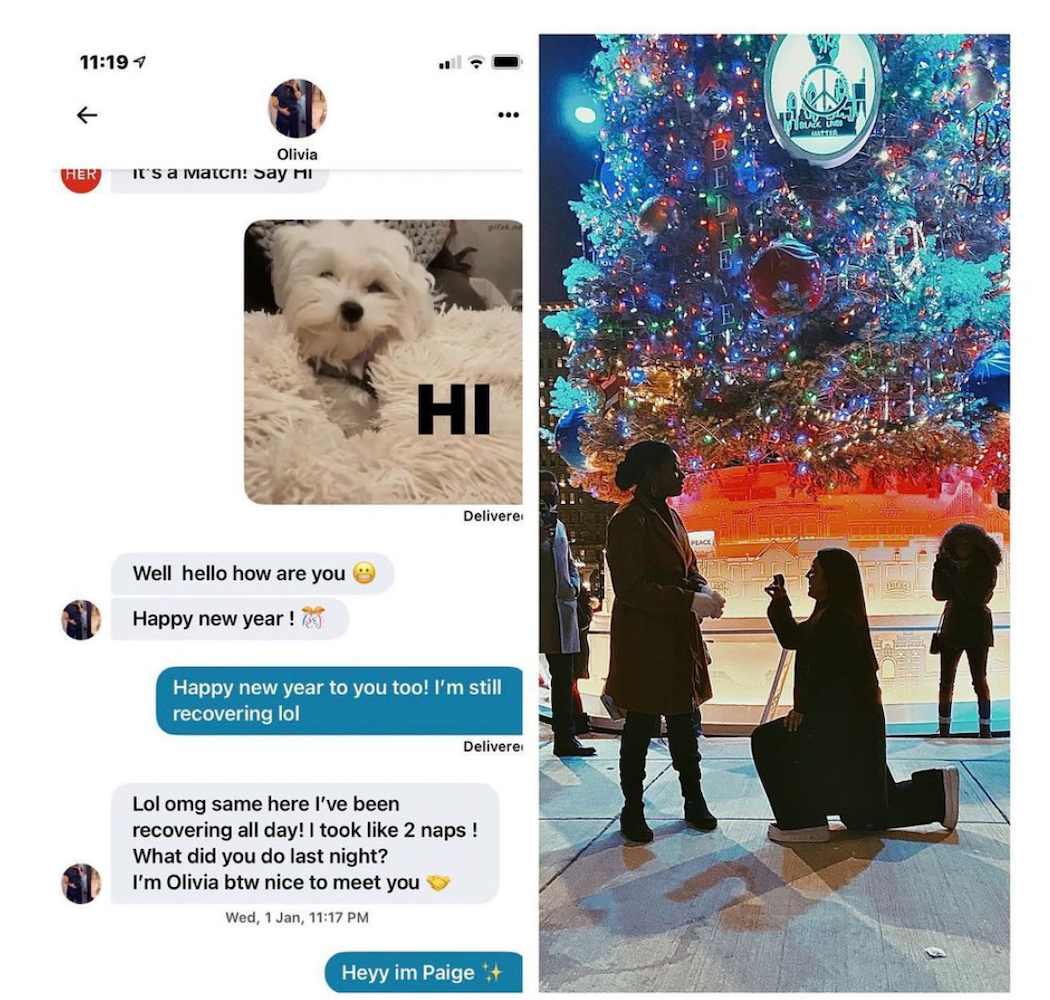 Screenshot of an actual conversation between two HER app users side-by-side with a photo of their engagement.