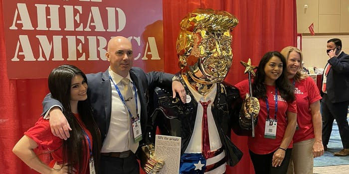 A gold statue of former President Donald Trump at CPAC