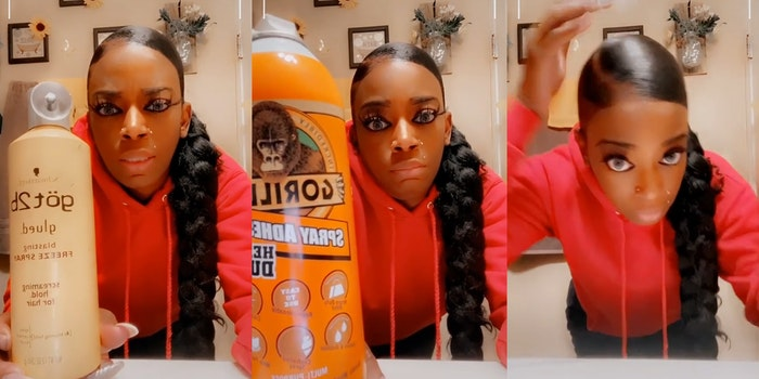 woman holding hair spray bottle (left), holding a bottle of gorilla glue spray adhesive (center), showing her hair (right)