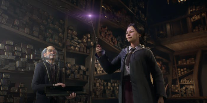 wandmaker and young witch in wand shop