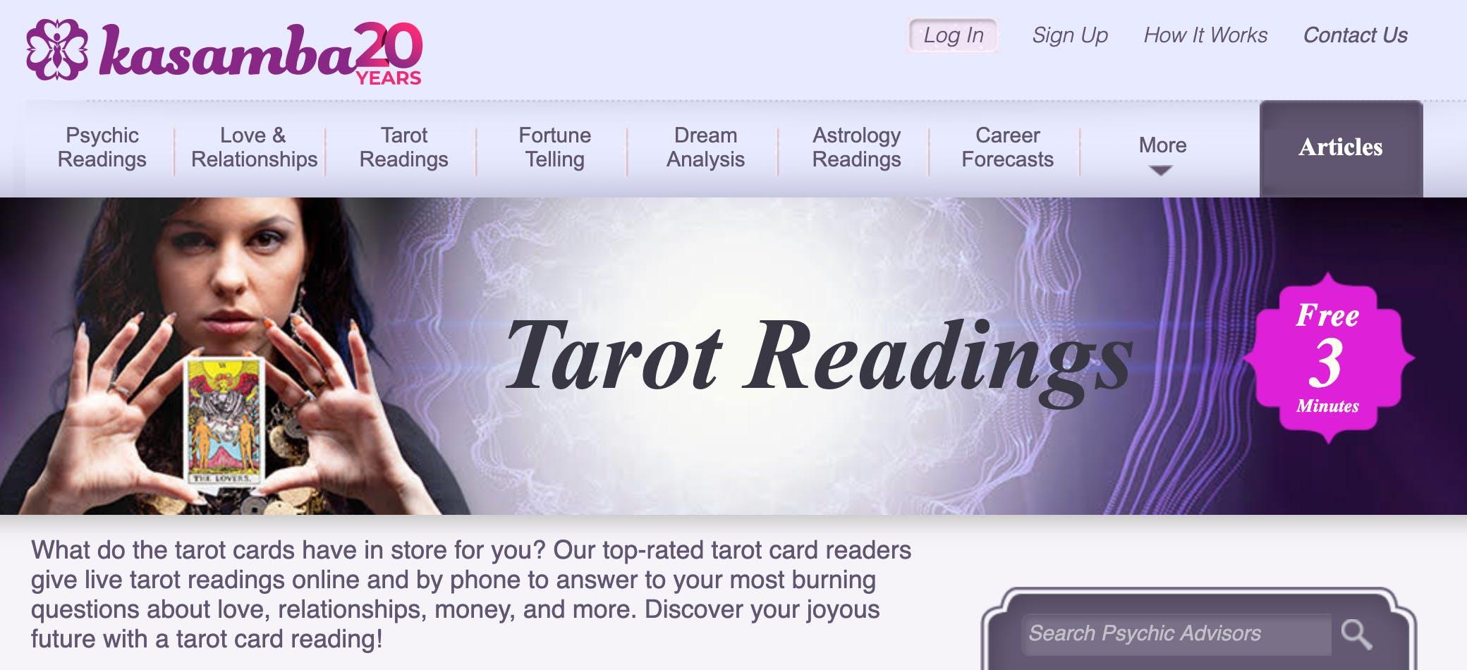 Kasmaba's tarot reading homepage