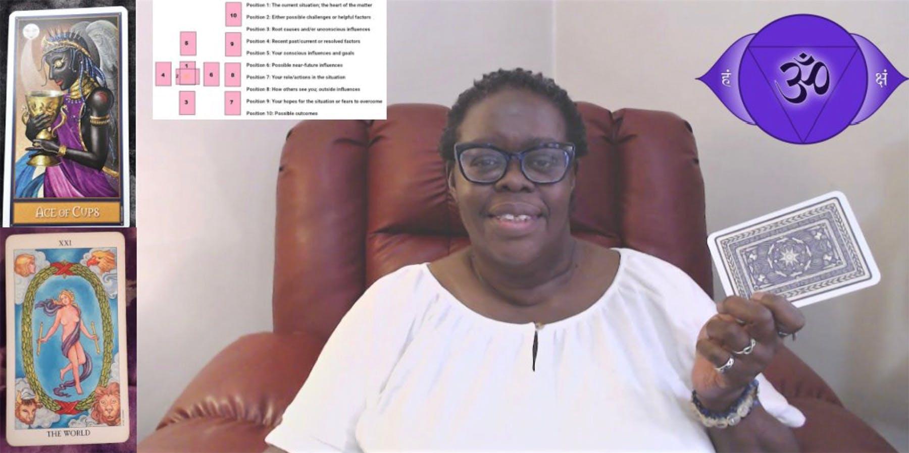 Image of Ms. Joyce explaining how tarot cards work