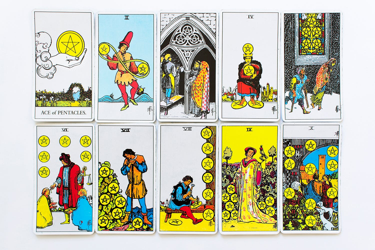 all minor number arcana pentacles set card of Rider-Waite deck on white background