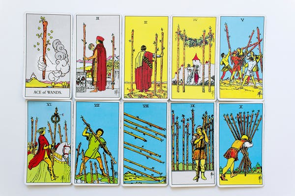 All minor number arcana wands card set of Rider-Waite tarot deck on white background.