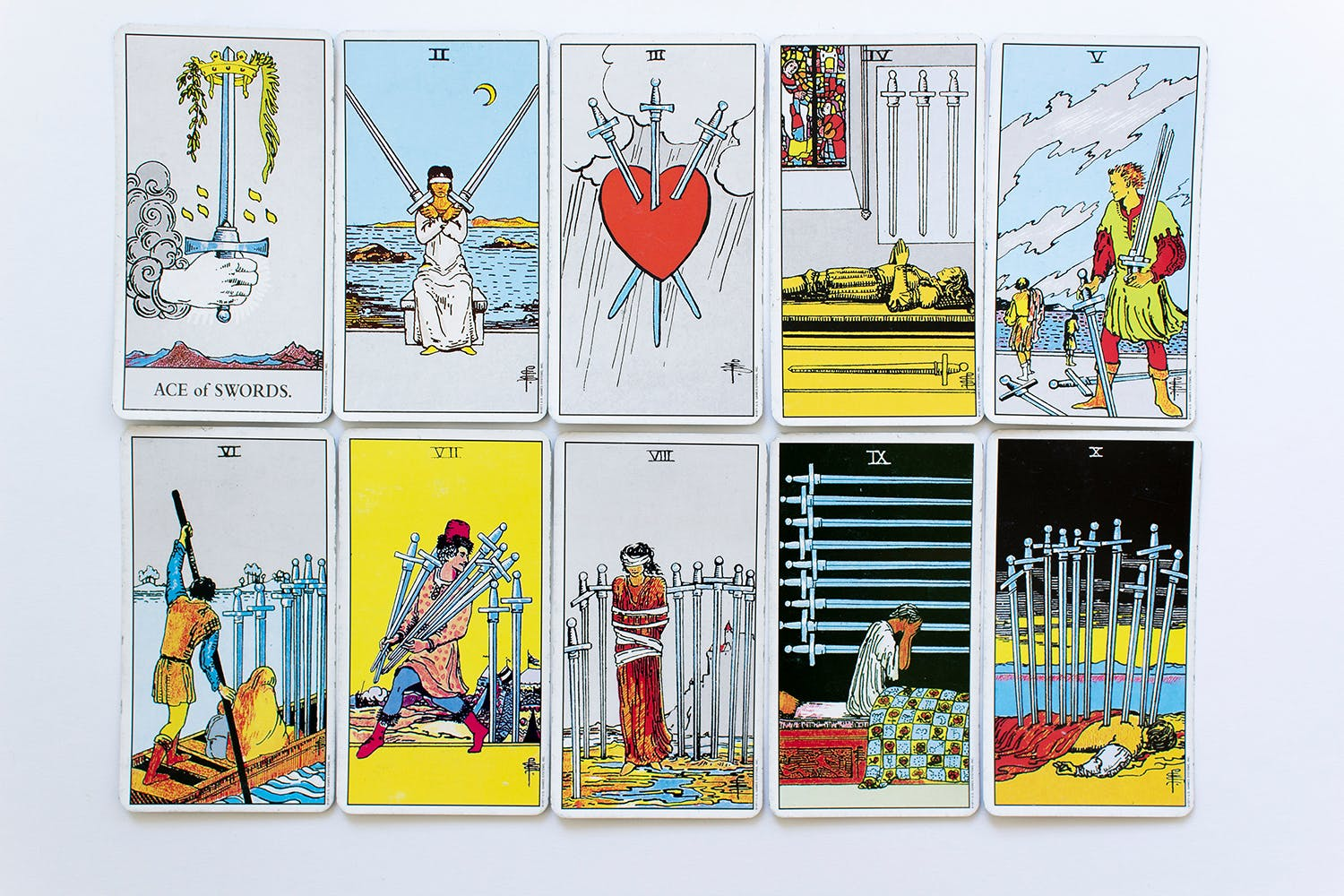 all minor number arcana swords set card of Rider-Waite deck on white background