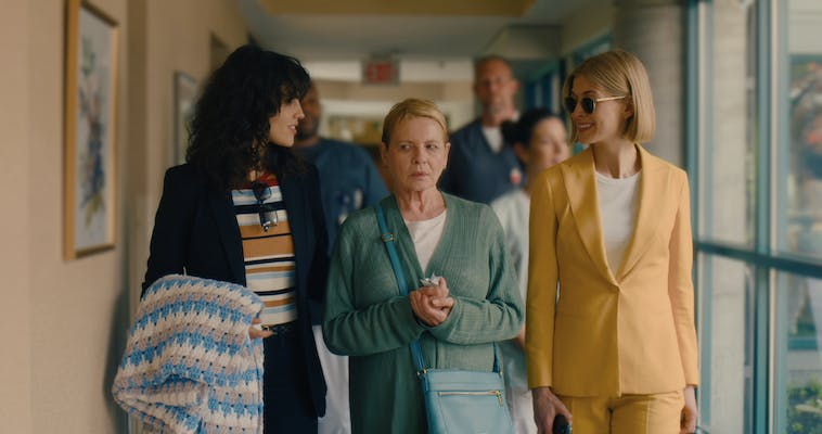 eiza gonzalez, dianne wiest, and rosamund pike in i care a lot
