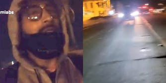 man walking in the dark (L) vehicle driving down road (R)