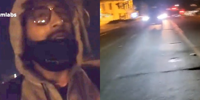 man walking in the dark (L) vehicle driving down road (R)