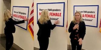 Marjorie Taylor Greene hangs transphobic sign