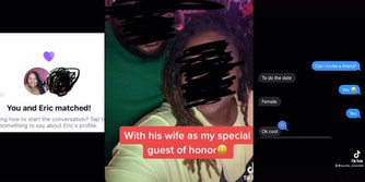 two Tinder users matching, selfie of husband and wife, and a screenshot of a text conversation