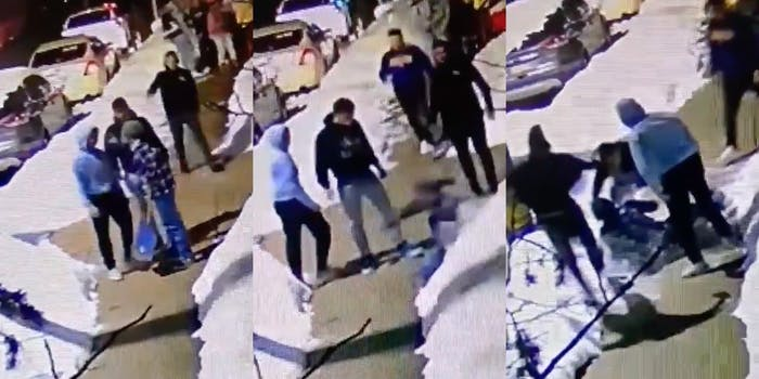 Men assault Chinese pizza shop owner video