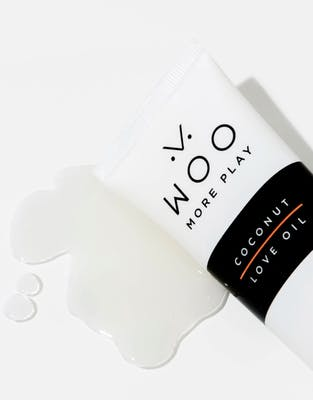 Woo More Play organic coconut love oil lubricant on a white background.