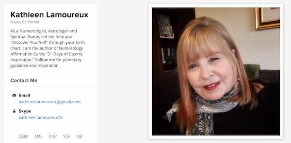 Screenshot of Kathleen's Gravatar bio page.
