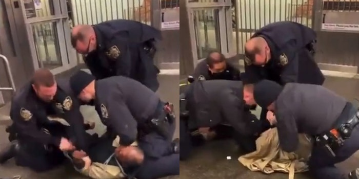 NYPD officers punch subdued man