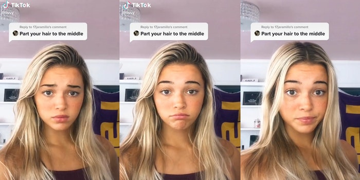 """young woman with """"part your hair to the middle"""" caption over her head, hair parted to the left and then in the middle"""
