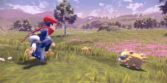 a pokemon trainer (left) and pokemon in pokemon legends arceus