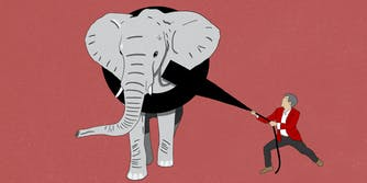 illustration of a man in a red jacket pulling on a rope connected to the letter Q, which is around the neck of an elephant like a collaar