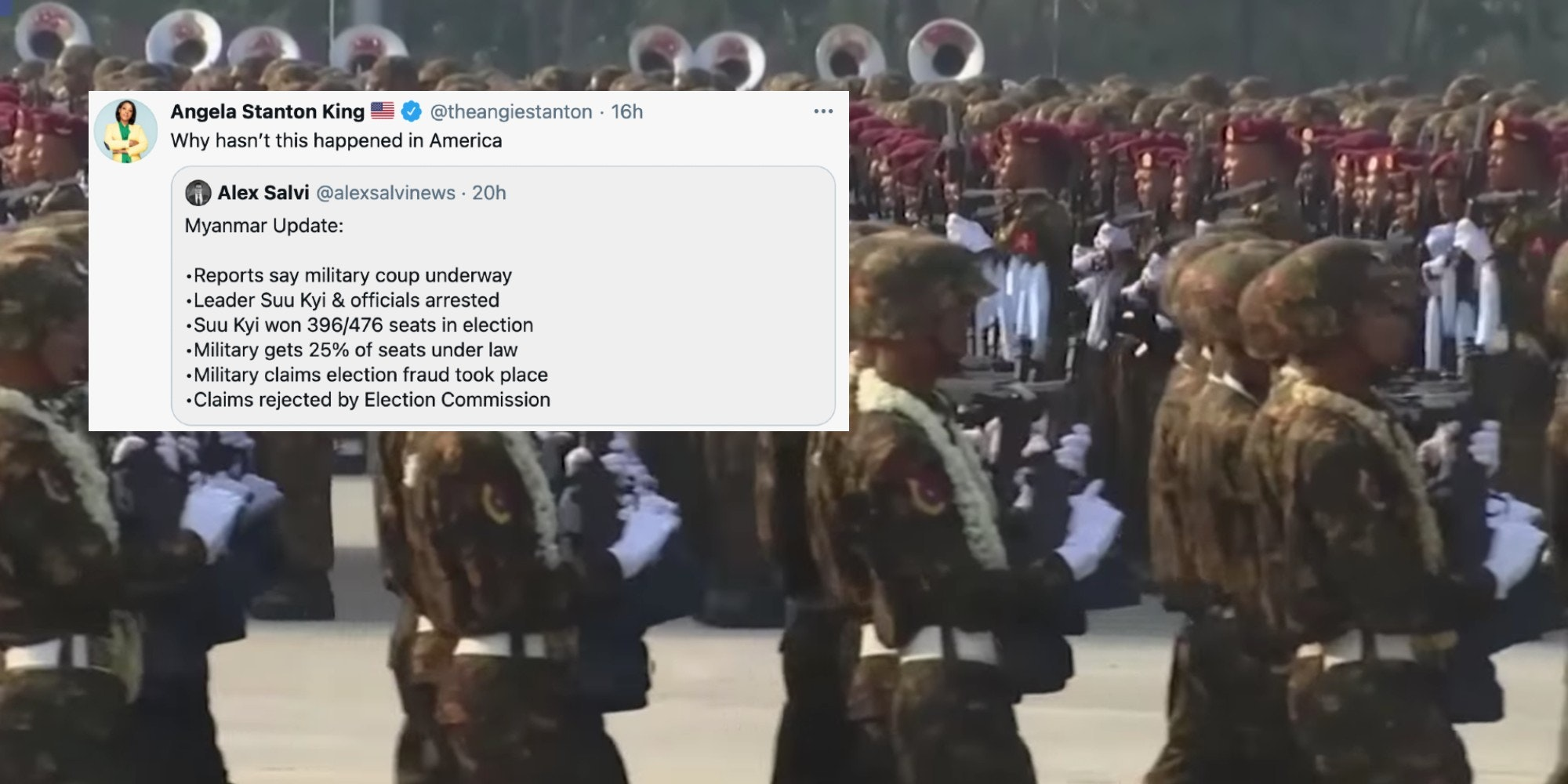 A tweet from Angela Stanton King over the Myanmar military