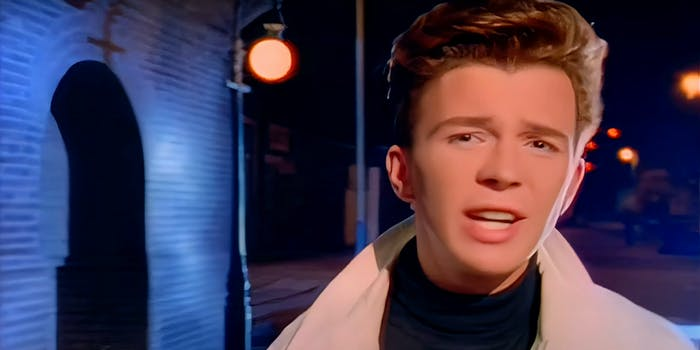 rick astley in the 'never gonna give you up' music video