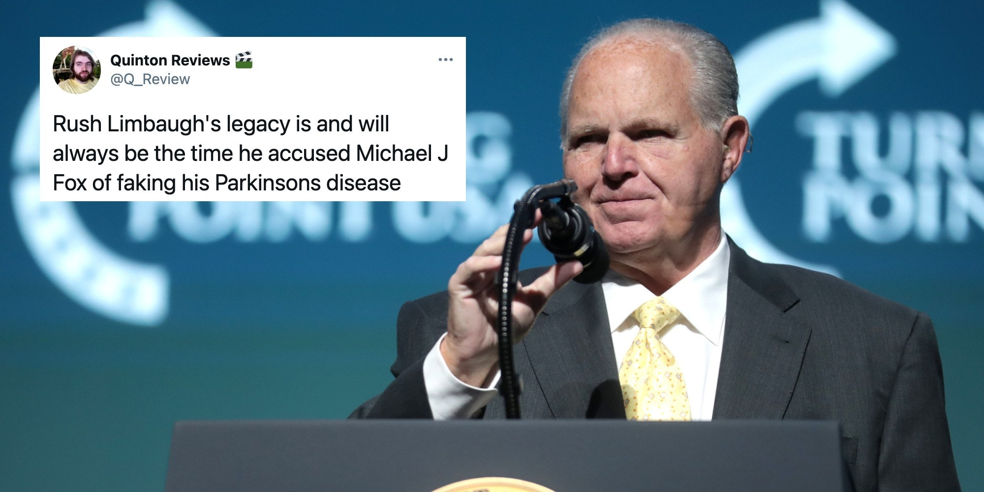 Rush Limbaugh next to a tweet about his mockery of Michael J. Fox