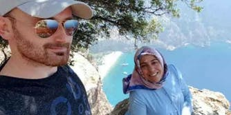 semra aysal and her husband Hakan Aysal right before he allegedly pushed her off cliff