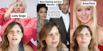 tiktoker with lady gaga, eva mendes, ryan gosling, and anna faris in the background