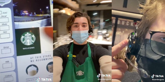 starbucks input ordering machine, a starbucks employee, and another starbucks employee pointing to headset