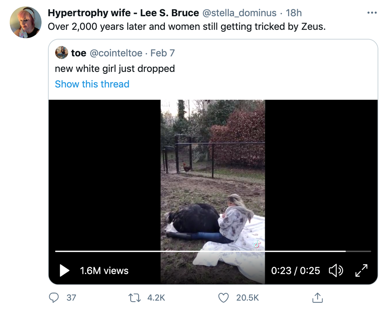 """Over 2,000 years later and women still getting tricked by Zeus."" Embedded tweet: ""New white girl just dropped"" and then the tiktok embedded"