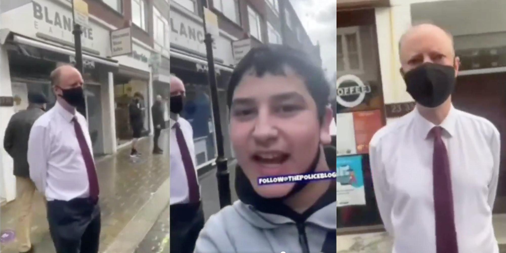 tiktok teen films himself heckling U.K.'s chief medical officer Chris Witty