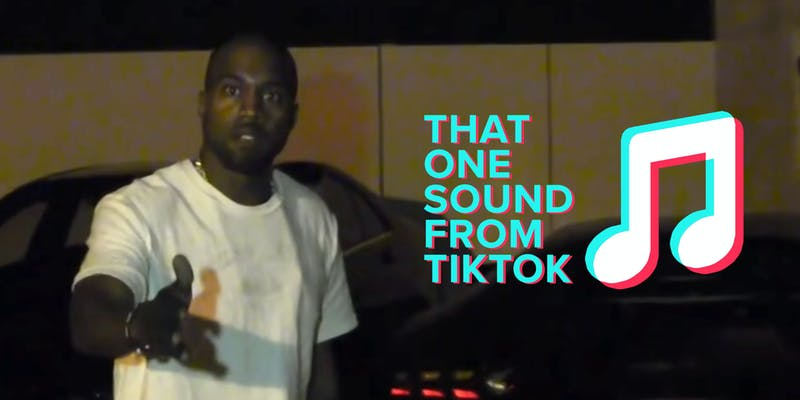 """kanye west with """"that one sound from tiktok"""" and musical note symbol in style of TikTok logo"""