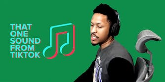 """""""That one sound from TikTok"""" logo with man sitting in gaming chair over green screen"""